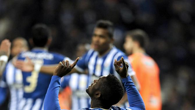 FC Porto's Jackson Martinez, from Colombia, celebrates after scoring the opening goal against Vitoria Setubal in a Portuguese League soccer match at the Dragao Stadium in Porto, Portugal, Sunday, Jan. 19, 2014. Jackson scored once in Porto's 3-0 victory