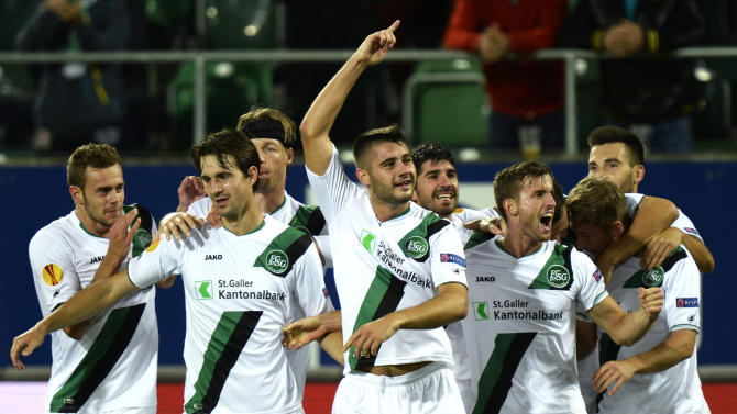 FC St. Gallen's players celebrate after scoring  their second goal during the UEFA Europa League Group A  soccer  match between Switzerland's FC St. Gallen and Russia's Kuban Krasnodar at the AFG Arena in St. Gallen, Switzerland, Thursday, Sept.  19, 2013