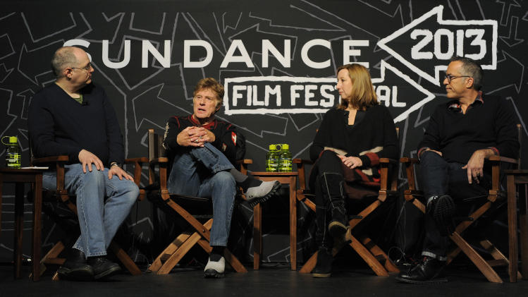 Moderator Sean Means, from left, Sundance Institute founder and president Robert Redford, Sundance Institute executive director Keri Putnam and Sundance Festival director John Cooper take part in the opening news conference of the 2013 Sundance Film Festival, Thursday, Jan. 17, 2013, in Park City, Utah. (Photo by Chris Pizzello/Invision/AP)