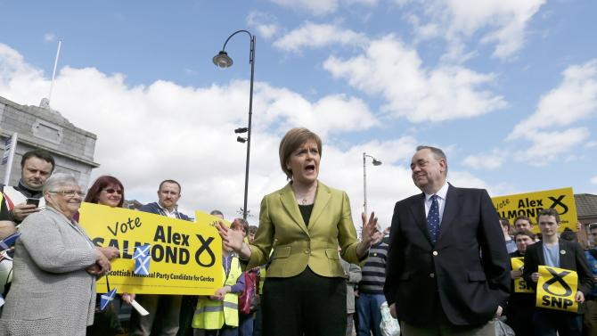 The leader of the Scottish National Party (SNP) Nicola Sturgeon campaigns alongside former leader and local candidate Alex Salmond in Inverurie, Aberdeenshire