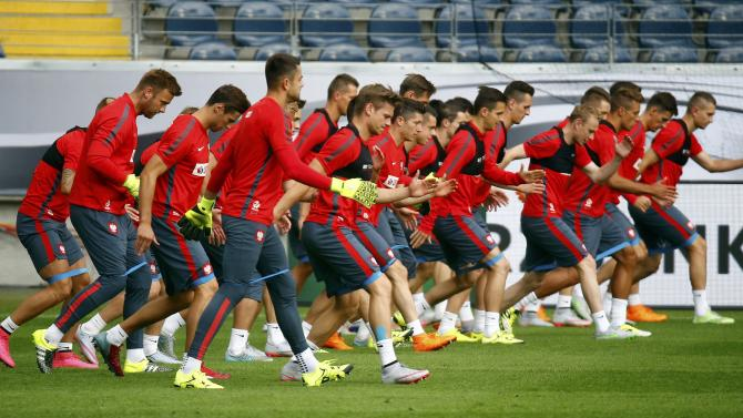 Poland's national soccer team attends a training session in Frankfurt