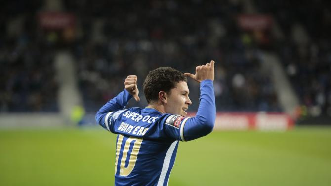Porto's Quintero celebrates his goal against Belenenses during their Portuguese premier league soccer match in Porto