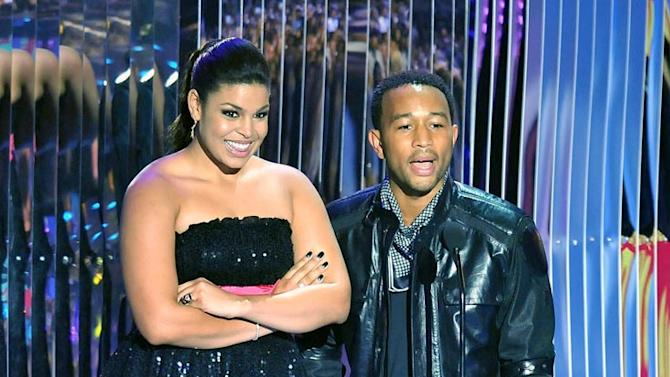 Singers Jordan Sparks and John Legend on stage at the 2008 MTV Video Music Awards.