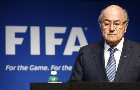 FIFA President Blatter pauses during a news conference at the FIFA headquarters in Zurich