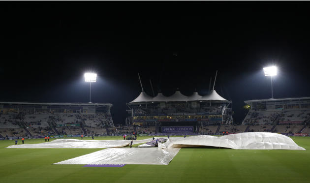 General view of the covers over the pitch