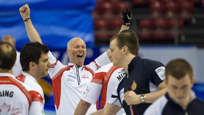 World Champion, Canada's skip Glenn Howard (L) celebrates after winning the final match against Scotland at the World Men's Curling Championship on April 8, 2012 in Basel. AFP PHOTO / FABRICE COFFRINI (Photo credit should read FABRICE COFFRINI/AFP/Getty Images)