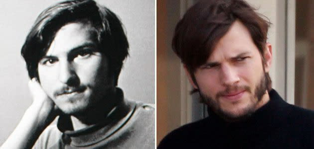 八、艾希頓庫奇(右)飾演史蒂夫賈伯斯(左):雖然演過蘋果之父賈伯斯的人不少,但2013年傳紀片《史帝夫賈伯斯》才稱得上是真正的神還原。美國男星艾希頓庫奇與賈伯斯天生臉龐就十分相似,加上電影化妝修飾之後,看起來簡直就跟本尊一模一樣。艾希頓庫奇在片中演繹賈伯斯早年嬉皮歲月與創業初期的故事,也讓不少人驚呼,原來艾希頓庫奇真的可以還原出各個時期的賈伯斯。(圖:Yahoo)