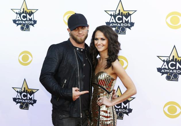Brantley Gilbert and Amber Cochran arrive at the 50th Annual Academy of Country Music Awards in Arlington