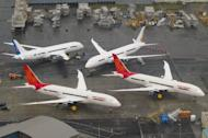 In-production Boeing 787 Dreamliner aircraft for Air India and other airlines sit on the tarmac at the Boeing production facility at Paine Field in Everett, Washington, on February 17. A seven-year dispute between aerospace giants Airbus and Boeing comes to a head on Wednesday when the World Trade Organization rules on an EU complaint against US government support for Boeing