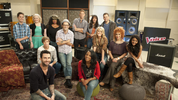 "Team Adam: (l-r) Philip Arnold, Katrina Parker, Nathan Parrett, Adam Levine, Kim Yarbrough, Tony Lucca, Orlando Napier, Angel Taylor, Karla Davis, Nicolle Galyon, Chris Cauley, Whitney Myer, and Mathai on ""The Voice."""