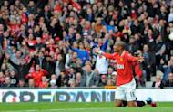 Manchester United's English forward Ashley Young appeals for a penalty during the English Premier League football match between Manchester United and Aston Villa at Old Trafford in Manchester. Sir Alex Ferguson has defended winger Young from accusations of cheating after Manchester United closed in on their 20th English league title with a 4-0 victory over Aston Villa