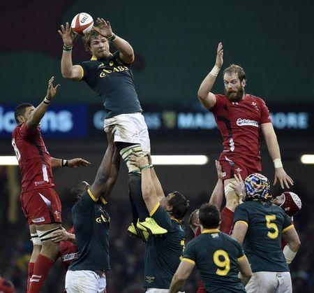 South Africa's Vermeulen catches the ball in the line out during their Autumn International rugby union match at the Millennium Stadium in Cardiff