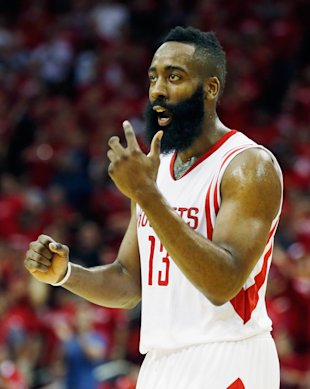 HOUSTON, TX - MAY 06: James Harden #13 of the Houston Rockets reacts to a play late in the second half against the Los Angeles Clippers during Game Two in the Western Conference Semifinals of the 2015 NBA Playoffs on May 6, 2015 at the Toyota Center in Houston, Texas. NOTE TO USER: User expressly acknowledges and agrees that, by downloading and/or using this photograph, user is consenting to the terms and conditions of the Getty Images License Agreement. (Photo by Scott Halleran/Getty Images)