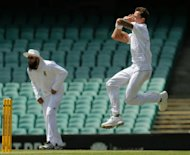 South Africa's Dale Steyn makes a delivery against Australia A at the Sydney Cricket Ground on Friday. Australia A recovered from an early setback to thwart South Africa's Test-strength bowling attack on the opening day of their three-day tour match