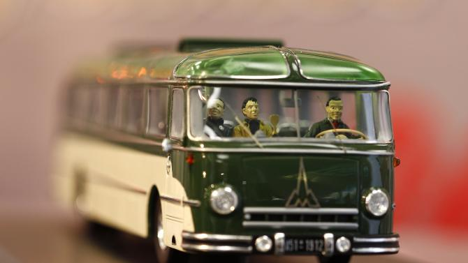 A collectible miniature toy bus by company 'Schuco' is pictured during the press preview of the 65th International Toy Fair in Nuremberg