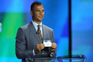 Former Dutch football player Ruth Gullit participates in the draw for the UEFA Champions League group stage in Monaco