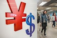 A woman walks past Chinese yuan and US dollar symbols in Hong Kong. China's foreign exchange reserves, already the world's largest, rose to $3.31 trillion at the end of last year to the highest level since February, central bank data showed on Thursday