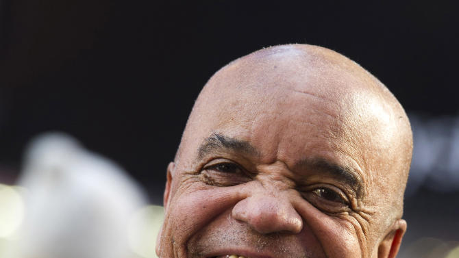 """This March 5, 2013 photo shows Berry Gordy posing for a portrait in New York.  For Berry Gordy, conquering Broadway is the next - and by his own admission, last - major milestone of a magical, musical career. The 83-year-old Motown Records founder is taking his story and that of his legendary label to the Great White Way. """"Motown: The Musical,"""" opens for previews Monday. (Photo by Charles Sykes/Invision/AP)"""