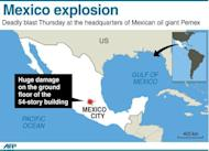 Graphic showing Mexico City where a huge explosion rocked the headquarters of state-owned oil giant Pemex in Mexico City. The death toll in a mystery explosion at the headquarters of Mexico's state-owned oil giant Pemex rose to 32 on Friday as rescuers dug through the rubble