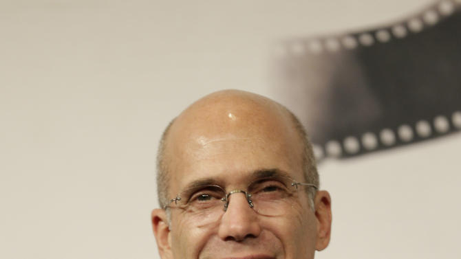 In this Tues., Nov. 13, 2012 file photo, Dreamworks Animation CEO Jeffrey Katzenberg poses for photographers at the 7th edition of the Rome International Film Festival in Rome.  Hal Needham, D.A. Pennebaker, George Stevens, Jr., and Jeffrey Katzenberg will accept their Oscar statuettes at the 4th annual Governors Awards from the Academy of Motion Picture Arts and Sciences' Board of Governors at a private ceremony Saturday, Dec. 1, 2012, at the Hollywood and Highland Center, in Los Angeles.  (AP Photo/Alessandra Tarantino, File)
