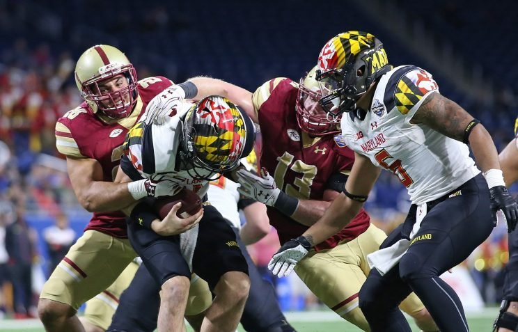 The Boston College defense sacked Perry Hills eight times, tying the BC record for single-game sacks.