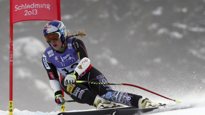United States'LindseyVonn speeds down the course during the women's super-G course, at the Alpine skiing world championships in Schladming, Austria, Tuesday, Feb.5, 2013. (AP Photo/Luca Bruno)