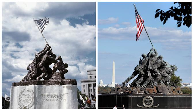 This photo combination shows, at left, a 1945 photo of the original 12 1/2-foot (4 meter) cast stone version of Felix de Weldon's iconic statue depicting soldiers raising the U.S. flag at Iwo Jima, placed in front of the old Navy Department Building, now the Federal Reserve Building, in Washington, D.C.; and, at right, de Weldon's 32-foot (10-meter)-tall bronze Marine Corps War Memorial in Arlington, Va., on Oct. 21, 2012. The smaller original statue, which was removed in 1947 and hidden under a tarp at the artist's studio for four decades, is expected to fetch up to $1.8 million when it goes on sale at Bonham's auction house in New York on Feb. 22, 2013. (AP Photo/Courtesy of Rodney Hilton Brown, left, and Jacquelyn Martin, right)