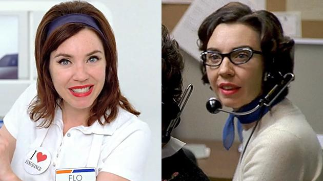 "Stephanie Courtney in a Progressive commercial and the ""Mad Men"" Season 1 episode, ""Smoke Gets in Your Eyes."""