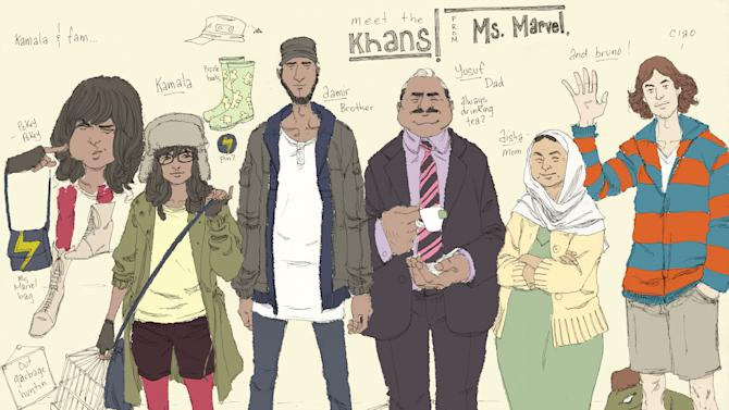 """This comic book image released by Marvel Comics shows character Kamala Khan , second left, with her family Aamir, father Yusuf, mother Disha and friend Bruno, from the """"Ms. Marvel"""" issue. The new monthly Ms. Marvel is debuting as part of the Company's popular All-New Marvel NOW! initiative. (AP Photo/Marvel Comics)"""