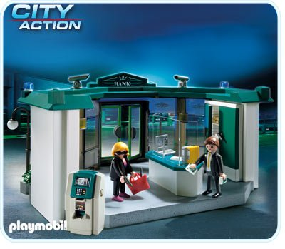 Would you let your 4 year-old play with a game where she could be a bank robber with a gun? (playmobil.ca)