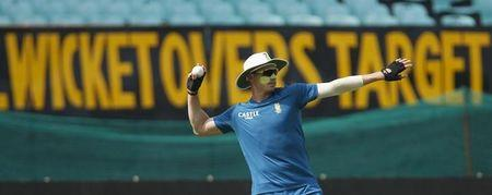 South Africa's Dale Steyn throws a ball during a practice session ahead of their third one-day international cricket match against India in Rajkot