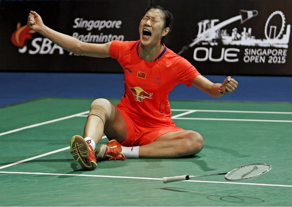 Sun Yu of China celebrates after defeating Tai Tzu Ying of Taiwan during their women's singles final badminton match at the Singapore Open