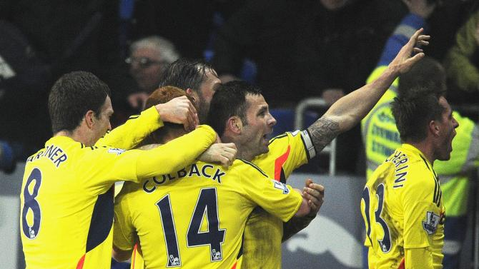 Sunderland's Colback celebrates scoring goal against Cardiff City during English Premier League soccer match in Cardiff