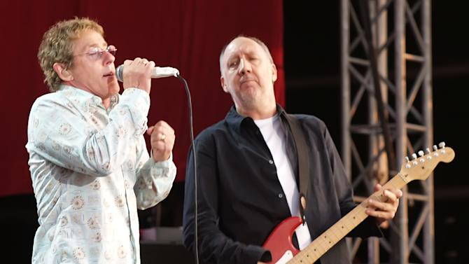 "FILE - In this July 2, 2006 file photo, Roger Daltrey and Pete Townshend of The Who are shown during their performance at the Hyde Park Music Festival, in London. Daltrey and Townshend are taking ""Quadrophenia"" and other Who classics on the road for a U.S. tour this fall, but first plan what Daltrey calls a great finale for the Olympic Games in London. (AP Photo/ Max Nash, File)"