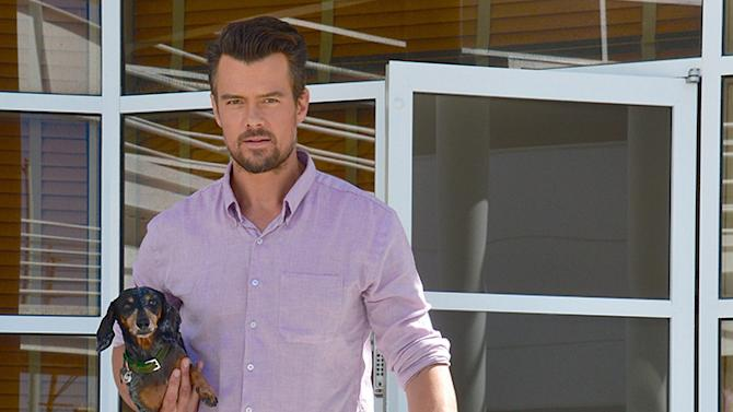 Josh Duhamel Leaving Work With His Dog In Los Angeles On June 21, 2013