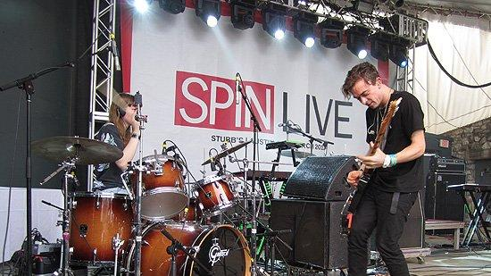 London alt-rockers the Big Pink, one of my favorite bands to emerge in the past few years, whose fuzzy, festival-ready shoegaze (or make that sandalgaze, considering this was a daytime SXSW show and it was really hot) made me feel like I was at South By Southwest 1989.