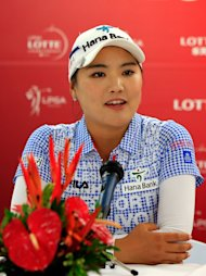KAPOLEI, HI - APRIL 16: So Yeon Ryu of South Korea talks with the media after the first round of the LPGA LOTTE Championship Presented by J Golf on April 16, 2014 in Kapolei, Hawaii. (Photo by Jamie Squire/Getty Images)
