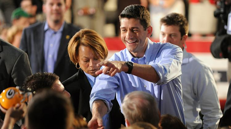 Republican vice presidential candidate, Rep. Paul Ryan, R-Wis. greets supports during a campaign rally at Beaver Steel in Carnegie, Pa., Tuesday, Aug. 21, 2012.  (AP Photo/John Heller