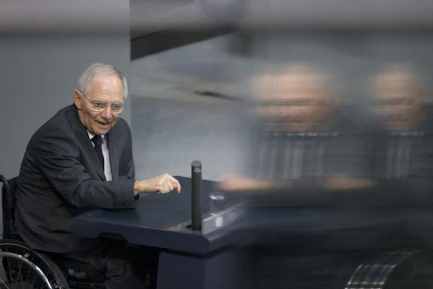 German Finance Minister Wolfgang Schaeuble speaks at the German parliament, the Bundestag in Berlin on Friday, Feb. 27, 2015. Germany's Parliament will vote on a four-month bailout extension for G