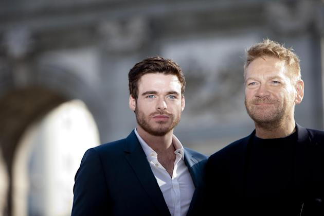 FILE- In this March 16, 2015 file photo, actor Richard Madden and director Kenneth Branagh pose for photographers during the presentation of the film 'Cinderella' in Madrid. It was announced o