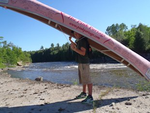 Andrew Metcalfe on his pink portage journey. (Facebook.com/pinkportage)
