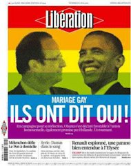 Obama se 'casa' con Hollande en la portada de Libération
