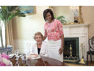 Michelle Obama wore a Gap cardigan and t-shirt to a luncheon with Nancy Reagan in 2009. Photo courtesy of The White House.