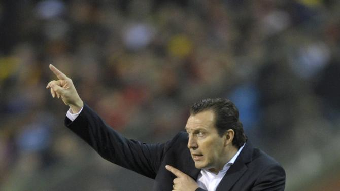 Belgium's coach Wilmots gestures during their international friendly soccer match against Ivory Coast at King Baudouin Stadium in Brussels