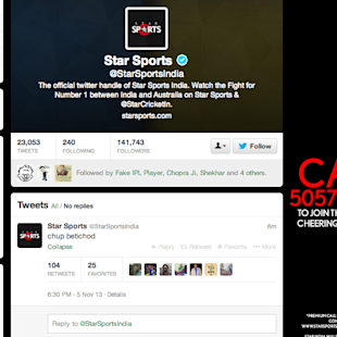 Latest Twitter Blooper, Courtesy Star Sports India image Star Sports India Twitter blooper