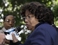 "Michael Jackson's mother Katherine Jackson talks with reporters as she leaves the Los Angeles Criminal Justice Center, in Los Angeles, Tuesday, Nov. 29, 2011. Dr. Conrad Murray, the doctor convicted in the overdose death of singer Michael Jackson, ay was sentenced to the maximum four years behind bars Tuesday by a judge who denounced him as a reckless physician whose actions were a ""disgrace to the medical profession."" (AP Photo/Reed Saxon)"