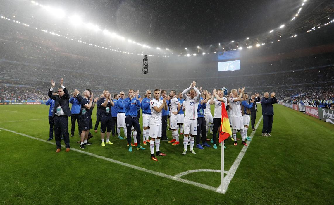 Iceland players after the game