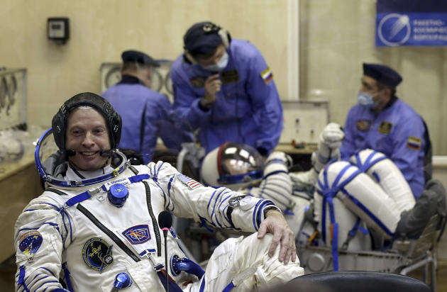 U.S. astronaut Steven Swanson, a crew member of the mission to the International Space Station (ISS) looks on during pre-launch preparations at the Russian leased Baikonur cosmodrome, Kazakhstan, Tues