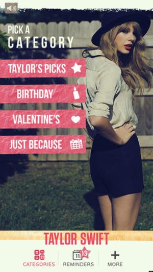 Taylor Swift App Homepage