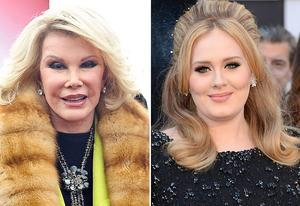 Joan Rivers, Adele | Photo Credits: Daniel Zuchnik/FilmMagic; Jason Merritt/Getty Images